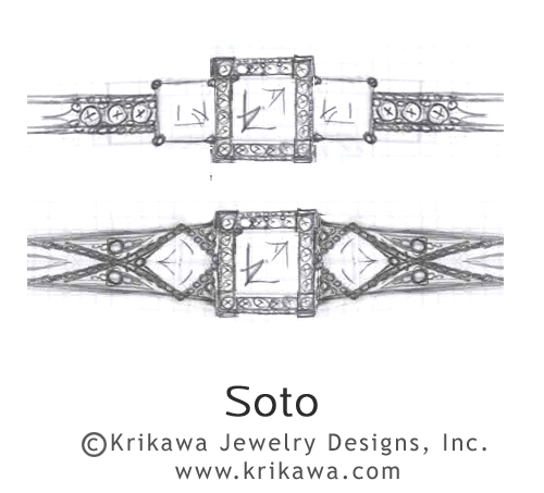Vintage Engagement Ring Design for three princess cut diamonds