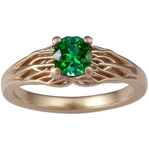 Tree of life engagement ring with tourmaline