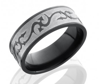 black mens wedding band with shallow etched pattern 2 tone