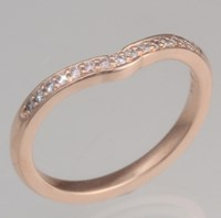 Vintage Scalloped Halo Contoured Wedding Band