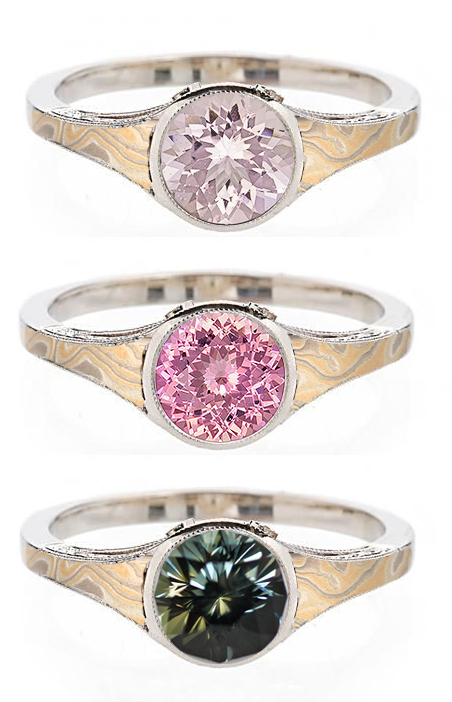 Vintage mokume engagement ring with morganite, pink sapphire and bi-color sapphire