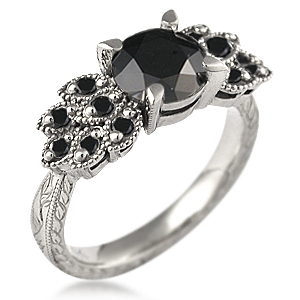 antique leaf engagement ring with black diamonds