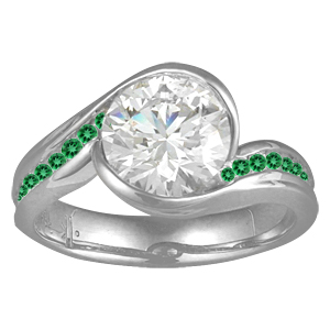 Carved Wave Engagement Ring with Emerald Green Accent Stones