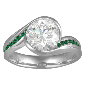 Carved Wave Engagement Ring with Forest Green Diamonds
