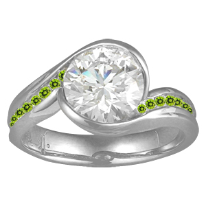 Carved Wave Engagement Ring with Peridot Green Accents Stones
