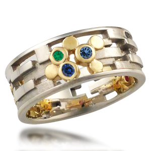 Klimt Wedding Band Green and Blue Stones