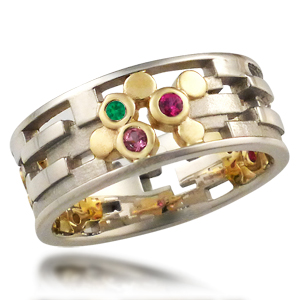 Klimt Wedding Band Green and Pink Stones