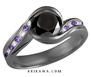 black gold diamond and amethyst engagement ring