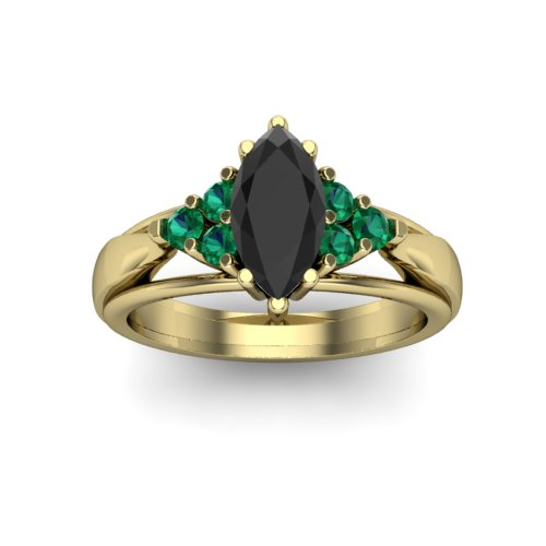 Black diamond and emerald engagement ring