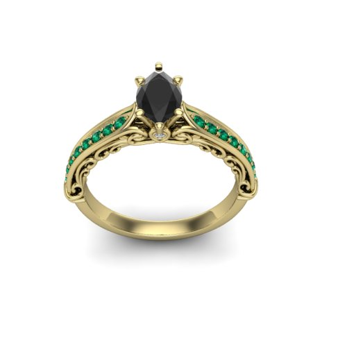 Black diamond and emerald yellow gold engagement ring vintage