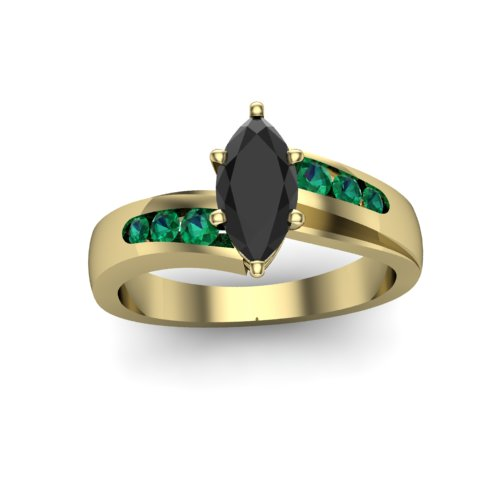black-marquise-diamond-emerald-and-yellow-gold-engagement-ring