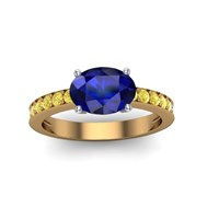 blue sapphire yellow gold and yellow diamond engagement ring