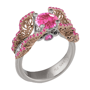 Butterfly Fishtail Pave Engagement Ring Rose Gold Wings