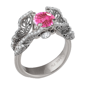 Butterfly Fishtail Pave Engagement Ring with Medium Pink Chatham Sapphire