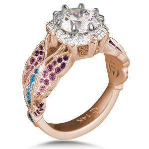 Butterfly Pave Ring with graduated pink, purple and blue stones