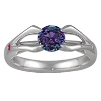 Carved Branch Engagement Ring with Alexandrite Center Stone
