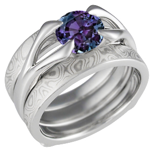 Carved Branch Alexandrite Engagement Ring and Mokume Enhancer