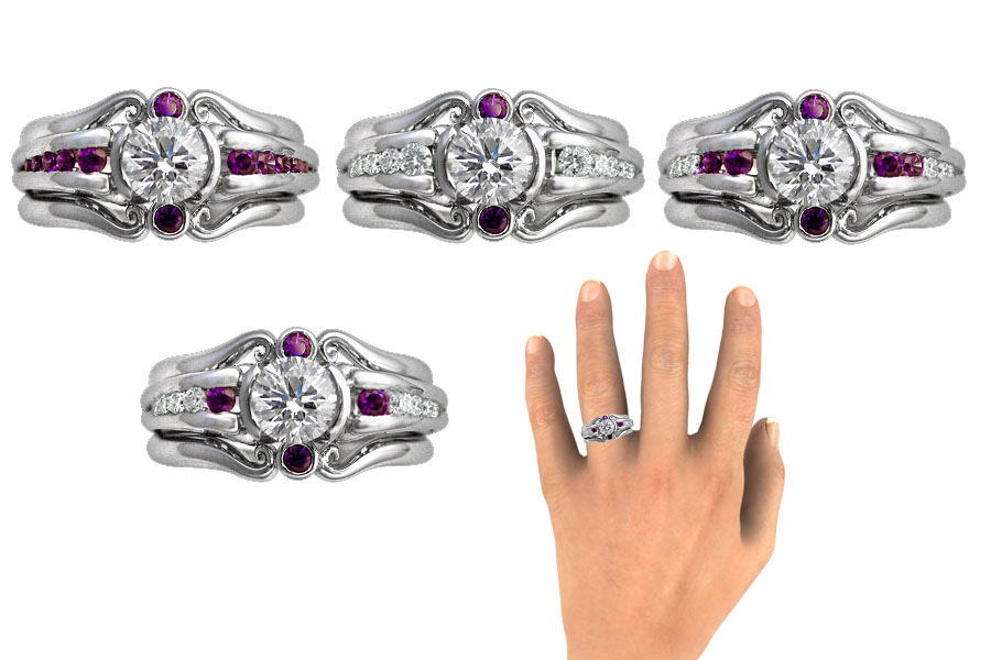 Unique engagement ring with purple diamonds