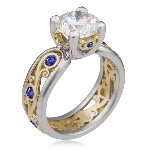 Carved Curls Engagement Ring with Rails and Blue Sapphires