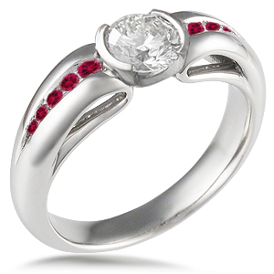 Carved curls Engagement Ring with rubies