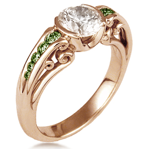 carved curls engagement ring in rose gold and green diamonds