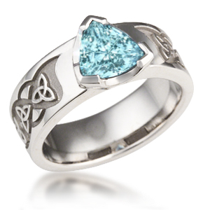 Celtic Knot Trinity Engagement Ring with Aquamarine and no accent stones