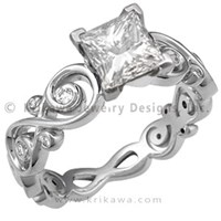Infinity Engagement Ring with Princess Cut Diamond