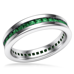 Cigar Channel Emerald Wedding Band