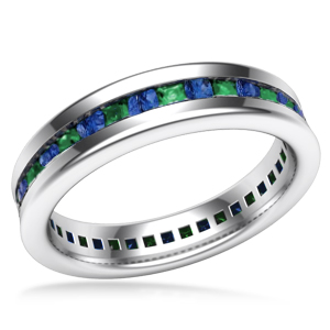 Cigar Channel Sapphire and Emerald Wedding Band