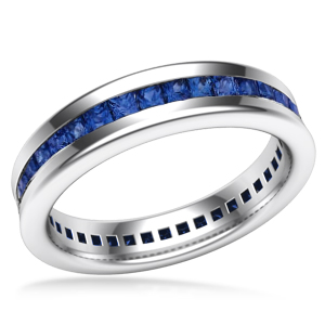 Cigar Channel Sapphire Wedding Band