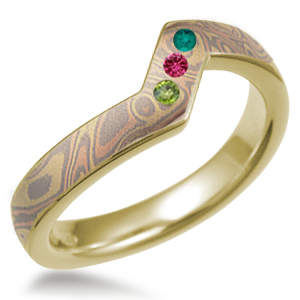 Contoured Wedding Band Trigold Mokume with Peridot, Emerald and Pink Tourmaline Stones