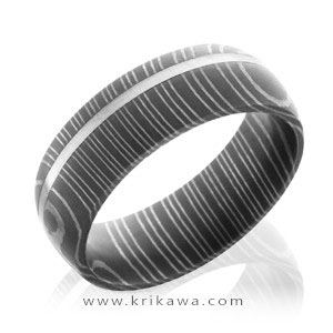 damascus wedding band off center stripe white gold