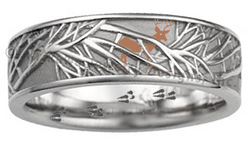 deer and trees wedding band