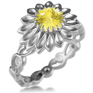 Daisy Delicate Leaf Engagement Ring in Platinum with Light Yellow Chatham Sapphire