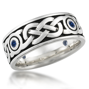 Sapphire Sailors Knot Eternity Wedding Band