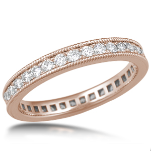 Diamond Wedding Band Millegrain Pave Rose Gold