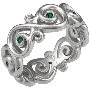 Ornate Infinity Wedding Ring with Green Diamonds White Gold