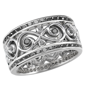 infinity wedding band with black diamonds