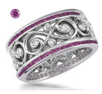 Double Diamond Purple Pink Diamonds Wedding Band