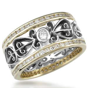 Double Diamond Ornate Power of Love Wedding Band