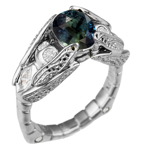 Dragonfly Engagement Ring with Oval Sapphire
