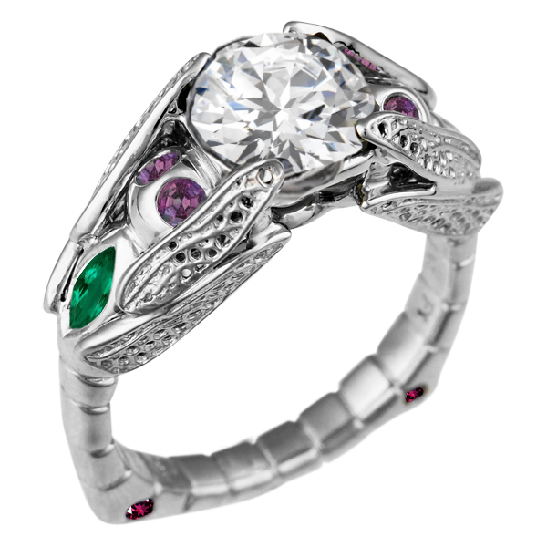 Dragonfly Engagement Ring with Round White Diamond, alexandrite, emerald and garnet accents