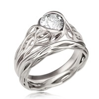Bmbracing Tree Branch Bezel Bridal Set in White Gold