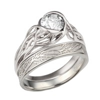 Embracing Tree Branch Bezel Engagement Ring with Tree of Life Wedding Band
