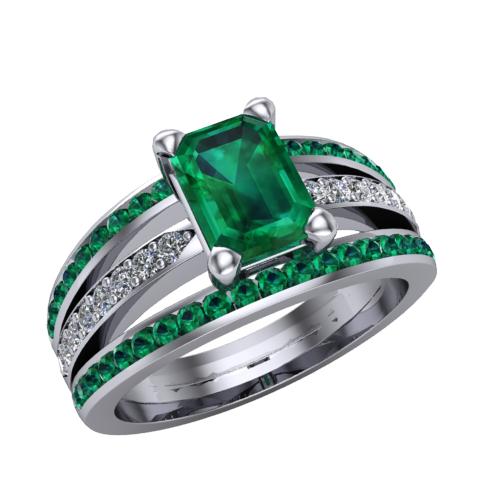 emerald cut emerald engagement ring with diamonds