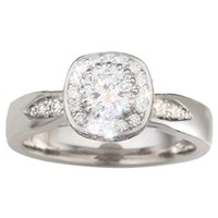 Halo Engagement Ring with Pave Set Leaves