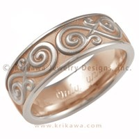 infinity mens wedding band in rose and white gold