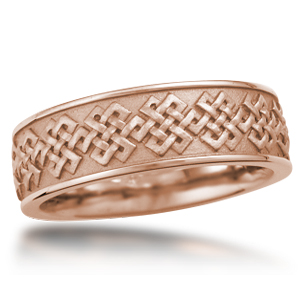 Eternity Wedding Band Tibetan Knot Rose Gold
