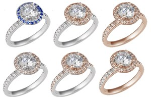 Halo Engagement Rings with Rose Gold and Champagne Diamond Variations