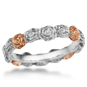 Ring O' Roses Wedding Band with Alternating Rose and White Gold with Diamonds